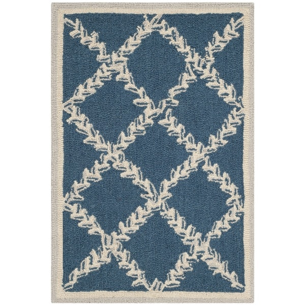 Safavieh Hand-hooked Chelsea Navy/ Cream Wool Rug - 1'8 x 2'6