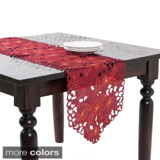 72-16-inch Floral Embroidered and Cutwork Table Runner