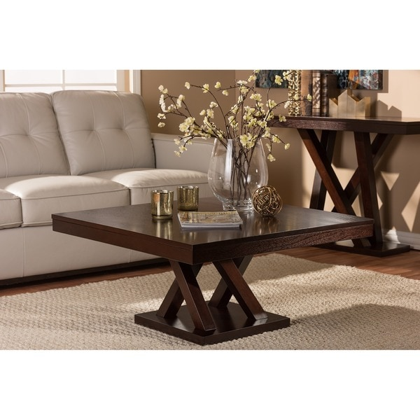 Modern Dark Brown Coffee Table By Baxton Studio Free