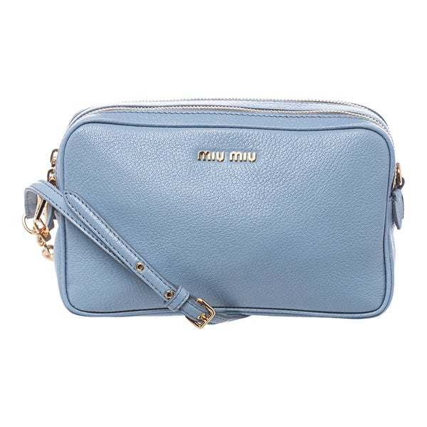 Miu Miu Sky Blue Leather Double-zip Crossbody Bag