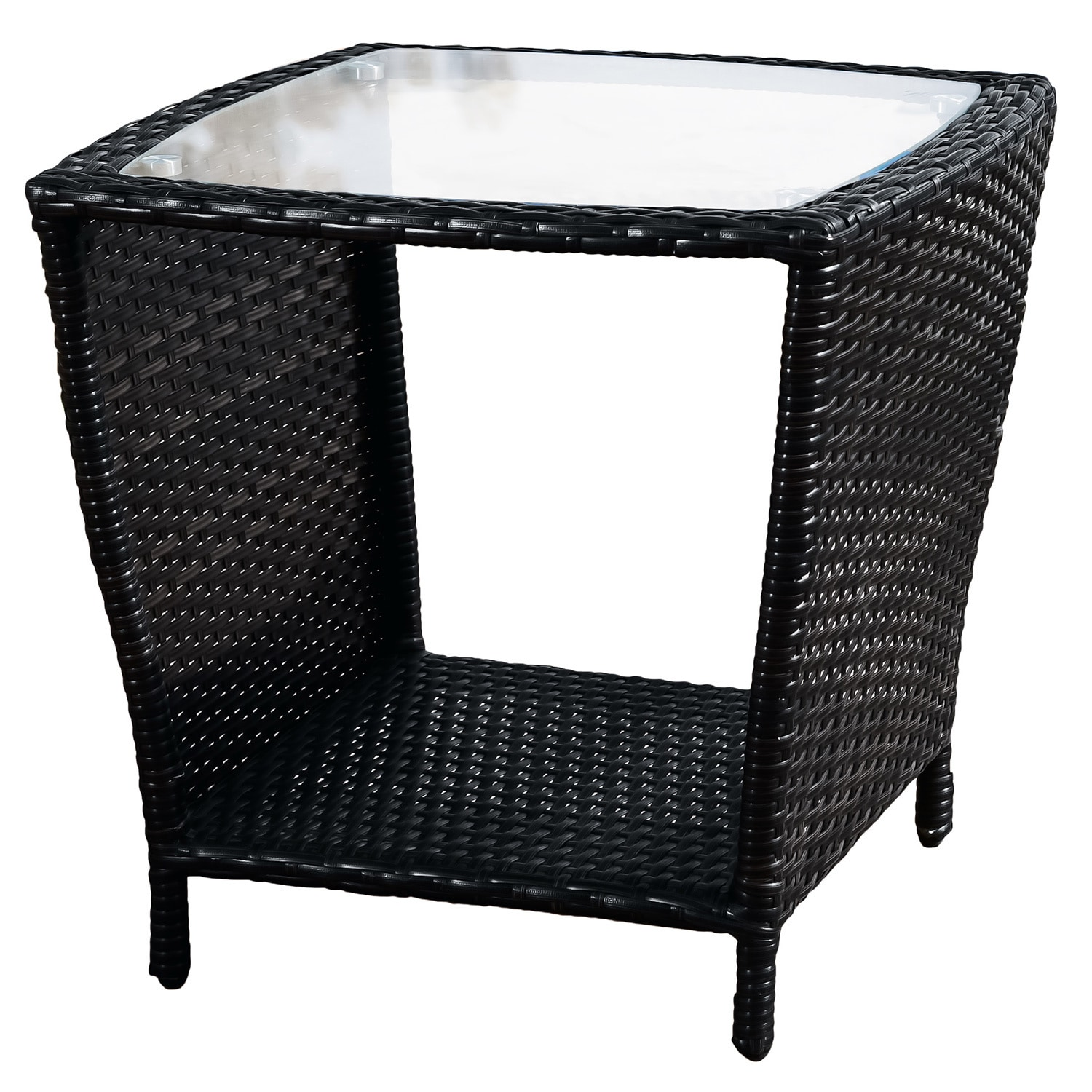 Home Loft Concept Woodland Outdoor Wicker Side Table With Glass ...