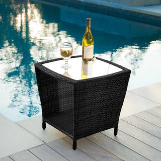 Weston Outdoor Wicker Side Table with Glass Top by Christopher Knight Home|https://ak1.ostkcdn.com/images/products/8722057/P15969834.jpg?impolicy=medium