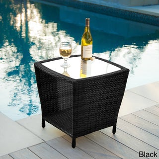 Weston Outdoor Wicker Side Table with Glass Top by Christopher Knight Home (3 options available)