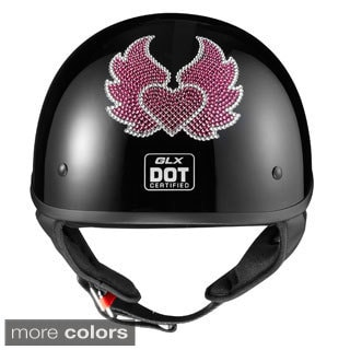 GLX Austrian Crystal Heart and Wing Half Helmet