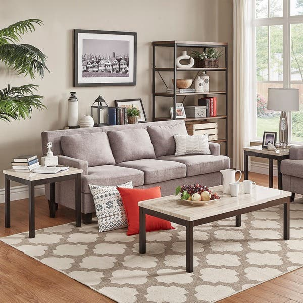 Hooseng Faux Marble Top 3-Piece Occasional Table Set,Coffee Table and 2 End Table,Brown