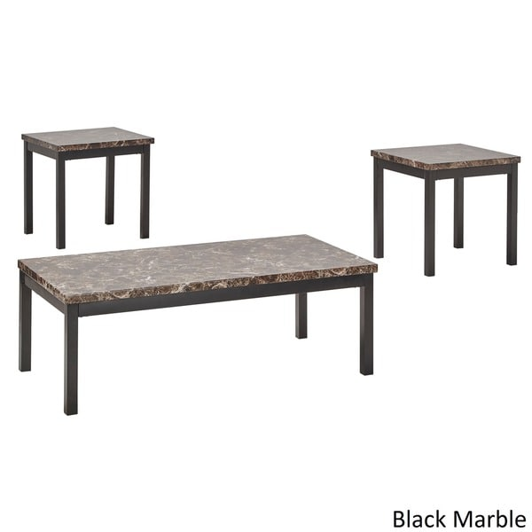 Darcy 3 Piece Metal And Faux Marble Accent Table Set By INSPIRE Q Bold