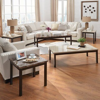 Darcy 3-piece Metal and Faux Marble Accent Table Set by iNSPIRE Q Bold