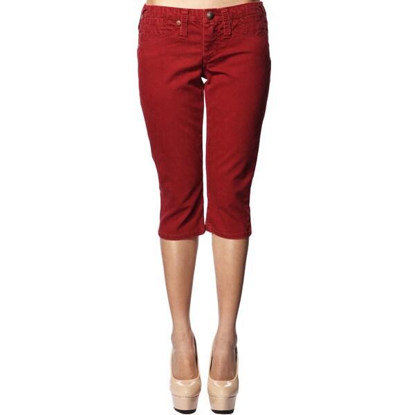 Stitch's Women's Red Slim Fit Denim Capri Pants