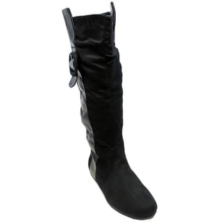Blue Women's 'Lola' Black Suede Knee-high Riding Boots