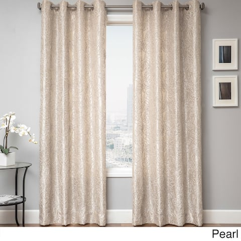 Sari Chenille Embroidered Floral Grommet Top Curtain Panel