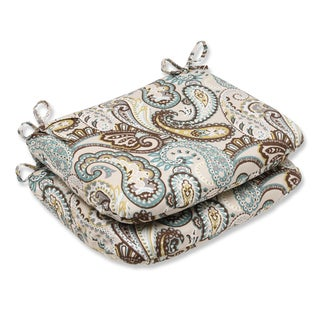 Pillow Perfect 'Tamara Paisley Quartz' Rounded Corners Outdoor Seat Cushion (Set of 2)