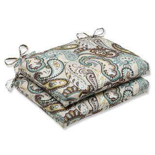 Pillow Perfect 'Tamara Paisley Quartz' Squared Corners Outdoor Seat Cushion (Set of 2)