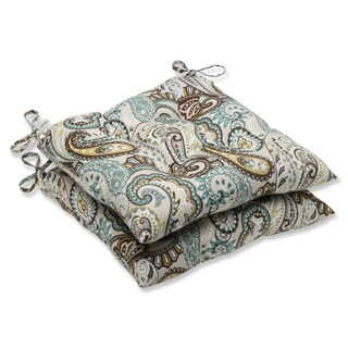 Pillow Perfect 'Tamara Paisley Quartz' Outdoor Wrought Iron Seat Cushion (Set of 2)