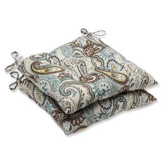 Pillow Perfect 'Tamara Paisley Quartz' Outdoor Wrought Iron Seat Cushion (Set of 2)