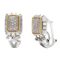 14k Yellow Gold and Stainless Steel 1/6ct TDW Clip Diamond Earrings