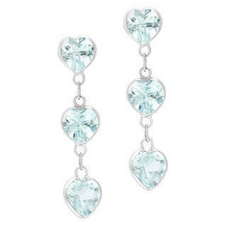 14k White Gold Heart-cut Blue Topaz Earrings