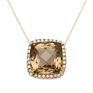 14k Yellow Gold 1/4ct TDW Round-cut Diamond Smokey Quartz Pendant Necklace (H-I, SI1-SI2)