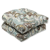 Pillow Perfect 'Tamara Paisley Quartz' Outdoor Wicker Seat Cushion (Set of 2)