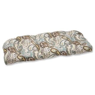 Pillow Perfect 'Tamara Paisley Quartz' Outdoor Wicker Loveseat Cushion
