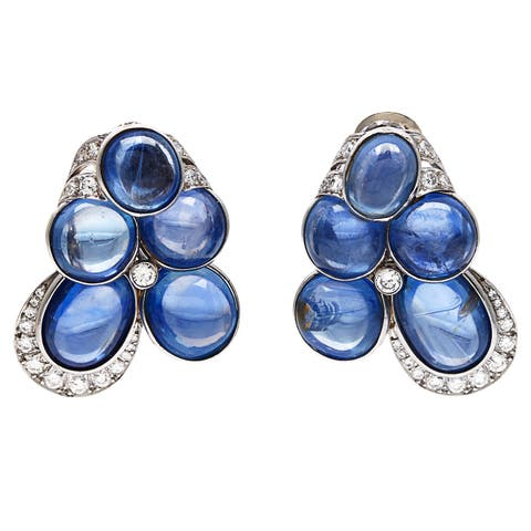 David Webb Platinum 2 3/4ct TDW Cabochon Sapphire Estate Earrings