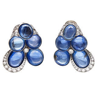 Pre-owned David Webb Platinum 2 3/4ct TDW Cabochon Sapphire Estate Earrings (F-G, VS1-VS2)