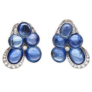 Pre-owned David Webb Platinum 2 3/4ct TDW Cabochon Sapphire Estate Earrings (F-G, VS1-VS2)