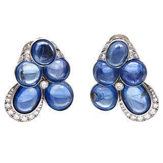 Pre-owned David Webb Platinum 2 3/4ct TDW Cabochon Sapphire Estate Earrings (F-G, VS1-VS2)|https://ak1.ostkcdn.com/images/products/8730533/David-Webb-Platinum-2-3-4ct-TDW-Cabochon-Sapphire-Estate-Earrings-F-G-VS1-VS2-P15977536.jpg?impolicy=medium