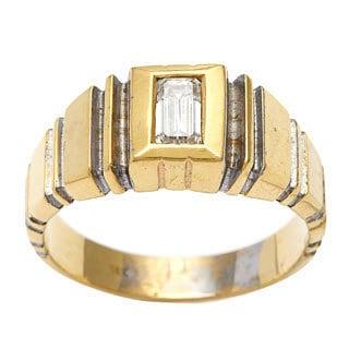 Pre-owned 18k Yellow Gold 3/5ct TDW Link Style Estate Ring (I-J, VS1-VS2) (Option: 10)