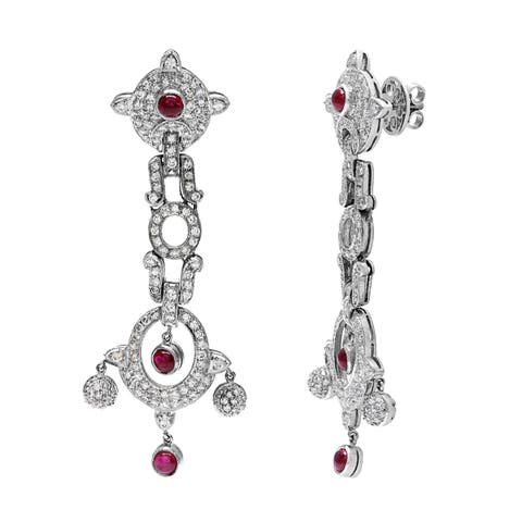 Pre-owned 18k White Gold 1 1/2ct TDW Ruby Chandelier Estate Earrings (H-I, SI1-SI2)