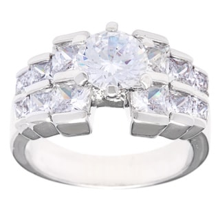 Simon Frank Designs 1.28ct TDW Round Center with Tapered Princess-cut CZ Accent Bridal /  Engagement Inspired Ring