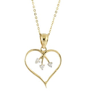 14k Yellow Gold Heart with CZ Studded Branches on 14k Yellow Gold Chain