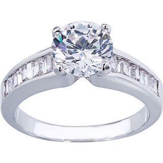 Simon Frank Round Solitare W/Princess Cut Accents Engagement Ring