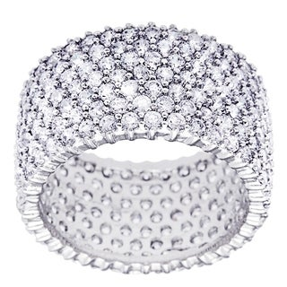 Simon Frank Designs Ultimate 100-plus CZ Hand-Cut Stones Eternity Band - Silver