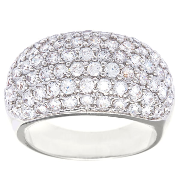 Gorgeous Rhodium And Zirconia Stacking Ring M Jewelry & Watches