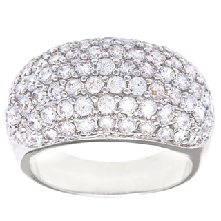 Simon Frank Rhodium Cubic Zirconia Fashion Dome Cocktail Ring