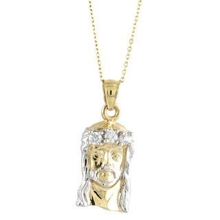 14k Two-Tone Forward Facing Jesus Pendant with CZ Gemstones and Chain
