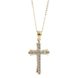 14k Gold Cross with CZ Gemstones and Chain