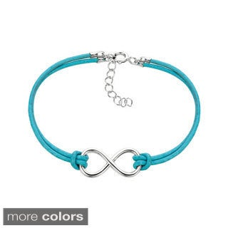 925 Sterling Silver Infinity Colored Cord Bracelet