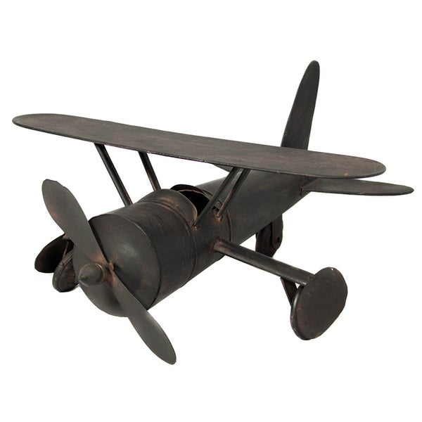 Handcrafted 18-inch Dark Espresso Antique Metal Replica Plane
