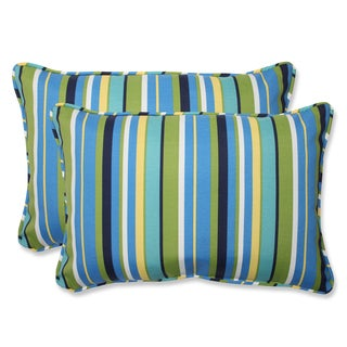 Pillow Perfect Outdoor Topanga Stripe Lagoon Over-sized Rectangular Throw Pillow (Set of 2)