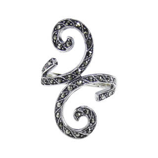 Handmade Beautiful Marcasite Front Swirl .925 Sterling Silver Ring (Thailand)