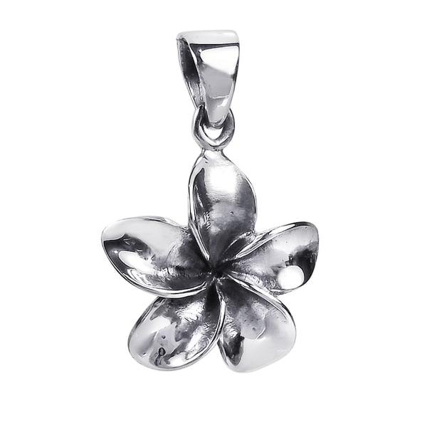 Cute Hawaiian Plumeria Flower .925 Silver Pendant (Thailand)