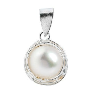 Genuine White Pearl Wire Wrap Around .925 Silver Pendant (Thailand)