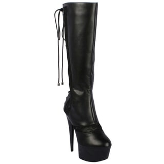 Ellie Women's '609-Haley' Black Knee-high Lace-back Stiletto Boots