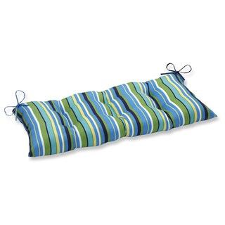 Pillow Perfect Outdoor/ Indoor Topanga Stripe Lagoon Swing/ Bench Cushion
