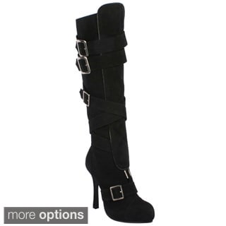 Ellie Women's 'Vixen-420' Knee-high Buckled Boots