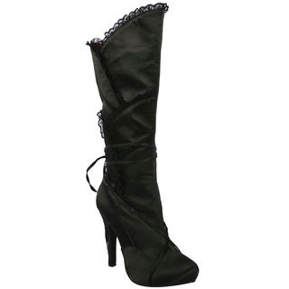 Ellie Women's '400-Gothika' Black Satin and Lace Knee-high Boots