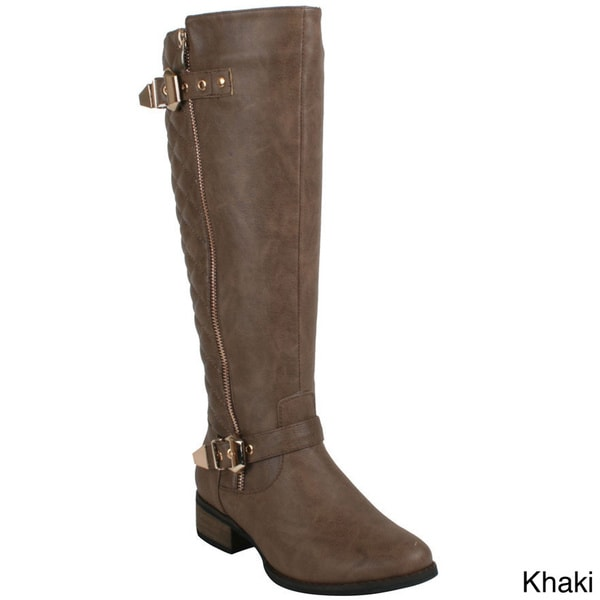 Reneeze Women's 'Helen-5' Quilted Back Knee-high Riding Boots