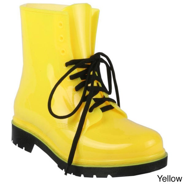 H2K Women's Lace-up Ankle Height Jelly Rain Boots