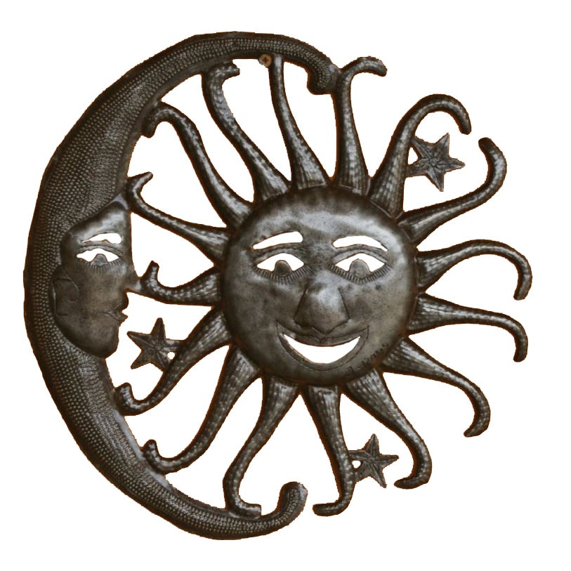 Sterling Handcrafted Recycled Steel Sun, Moon and Stars W...